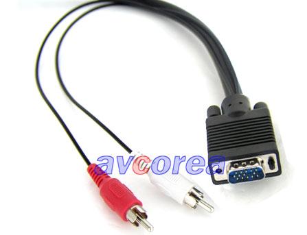 오디오/비디오(VGA) 케이블 (HD15/2RCA-3.5 STEREO) D-sub