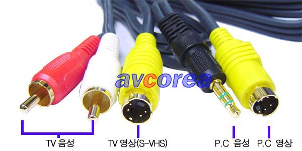 S-VHS 통합케이블(4P 2RCA) 고급형 20M