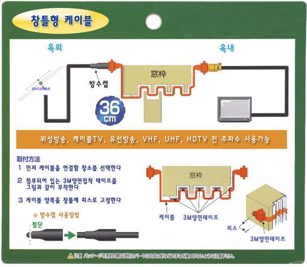 [avcorea]SC-036 창틀형 케이블 Window-Cable 창틀케이블[창틀에 구멍을 뚫기 힘들때 용도]