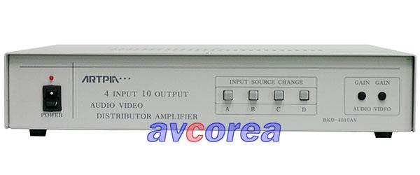 [AVCOREA]BK-4010AV 영상-음성(모노)증폭분배기[4입력10출력]